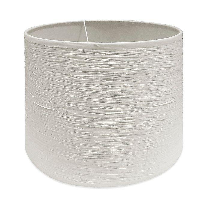 Alternate image 1 for Medium 13-Inch Crinkle Paper Hardback Drum Lamp Shade in White