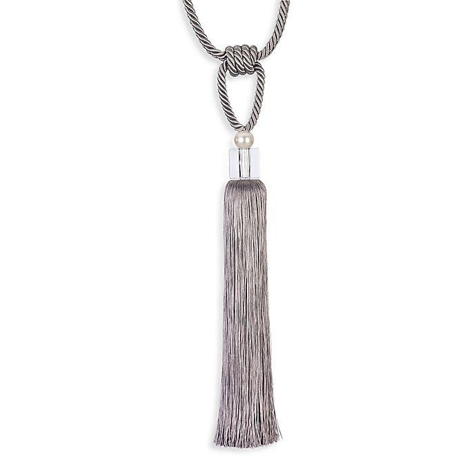 Alternate image 1 for Single Glass Pearl Grey Tassel Tie Back in Grey