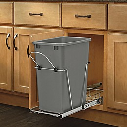 Rev-A-Shelf  RV-12KD-17C S  Single 35 qt. Pull-Out Silver and Chrome Waste Container w/Rear Basket