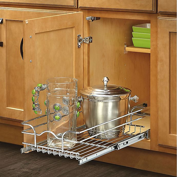 Alternate image 1 for Rev-A-Shelf - 5WB1-0918-CR - 9 in. W x 18 in. D Base Cabinet Pull-Out Chrome Wire Basket