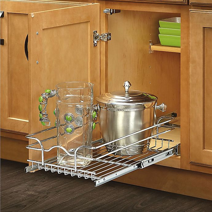 Alternate image 1 for Rev-A-Shelf - 5WB1-1222-CR - 12 in. W x 22 in. D Base Cabinet Pull-Out Chrome Wire Basket