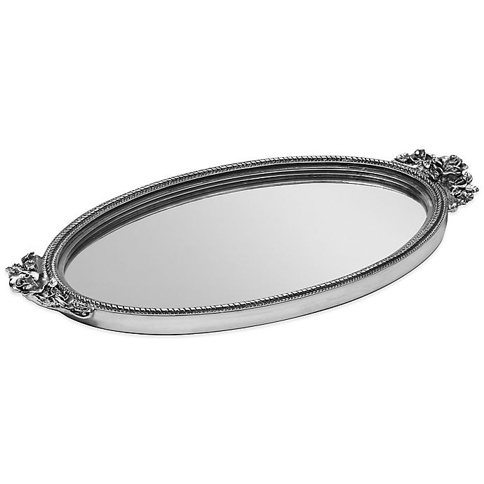 Alternate image 1 for Taymor Antique Rose Resin Mirror Vanity Tray in Silver