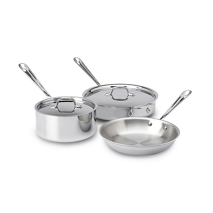 Alternate image 1 for All-Clad D3 3-Ply Stainless Steel 5-Piece Cookware Set