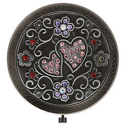Isabella Mirror Compact in Antique with Stones
