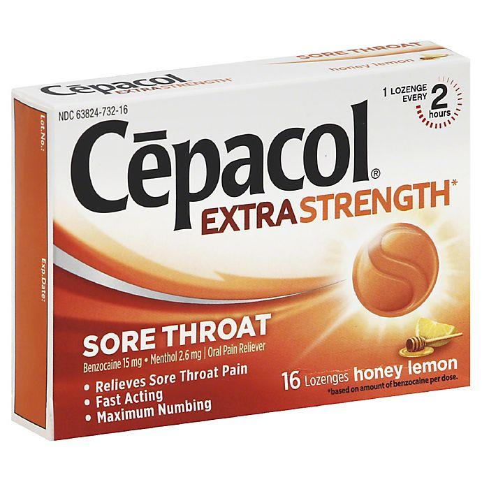 Alternate image 1 for Cepacol® Extra Strength 16-Count Sore Throat Lozenges in Honey Lemon