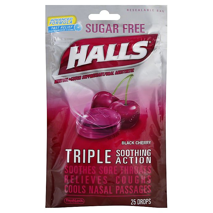 Alternate image 1 for Halls® 25-Count Sugar-Free Cough Drops in Black Cherry
