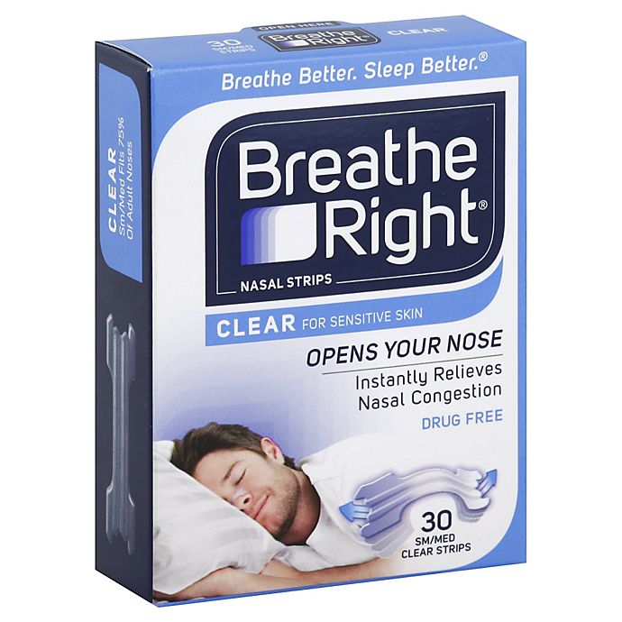 Alternate image 1 for Breathe Right Size Small/Medium 30-Count Nasal Strips in Clear