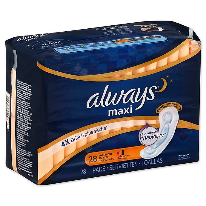 Alternate image 1 for Always Maxi without Wings 28-Count Overnight Pads