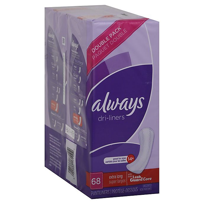 Alternate image 1 for Always Dri Liner 68-Count Max Protection Extra Long