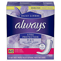 Always Discreet 60-Count 3-in-1 Daily Incontinence with OdorLock Extra Long Pantiliners