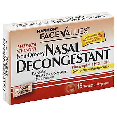 Harmon® Face Values™ Maximum Strength Nasal Decongestant 18-Count Tablets
