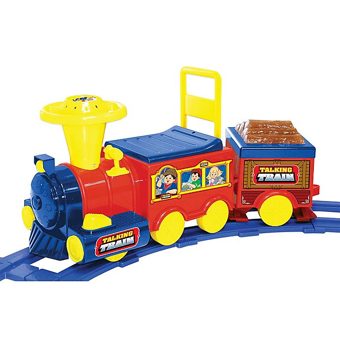 Alternate image 1 for Kid Motorz Talking Train 6-Volt Ride-On with Track in Red & Blue