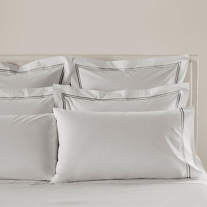 Alternate image 1 for Frette At Home Piave Standard/Queen Pillowcase in White/Grey