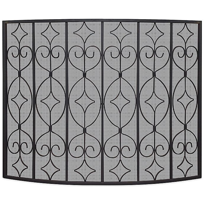 Outstanding Uniflame Single Panel Curved Ornate Fireplace Screen In Download Free Architecture Designs Photstoregrimeyleaguecom