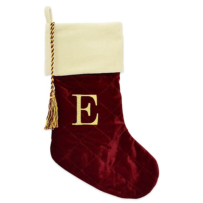 harvey lewis letter e monogram christmas stocking made with crystals from swarovski