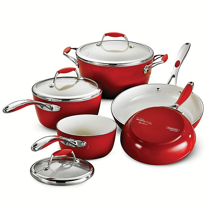 Alternate image 1 for Tramontina® Gourmet Ceramica Deluxe 8-Piece Cookware Set in Red