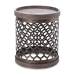 Madison Park Cirque Quatrefoil Metal Drum Table in Grey