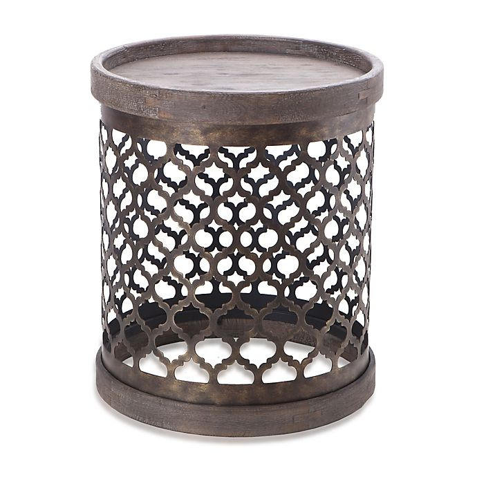 Alternate image 1 for Madison Park Cirque Quatrefoil Metal Drum Table in Grey