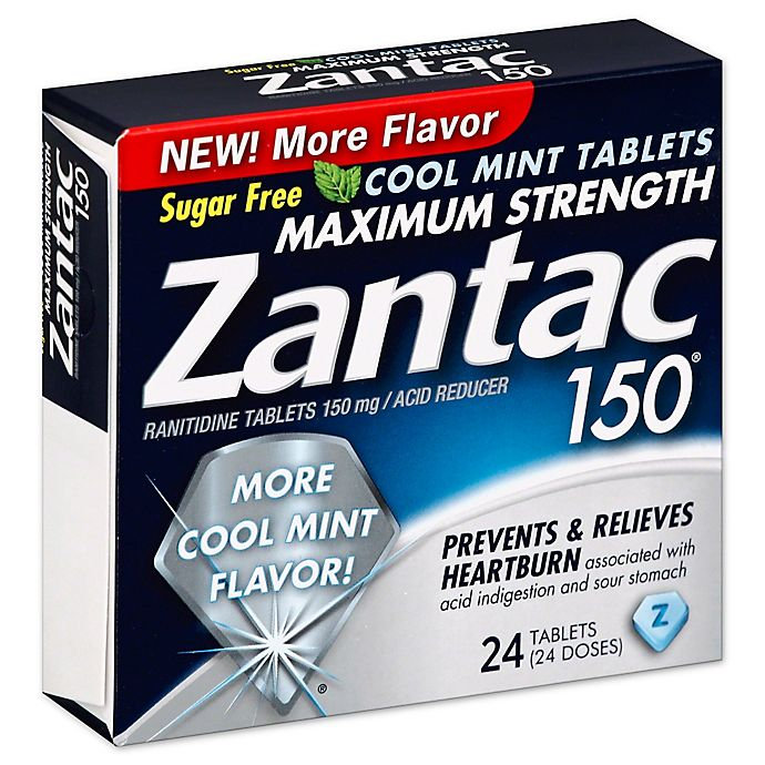 Alternate image 1 for Zantac 150® Maximum Strength 24-Count Acid Reducer Tablets in Cool Mint