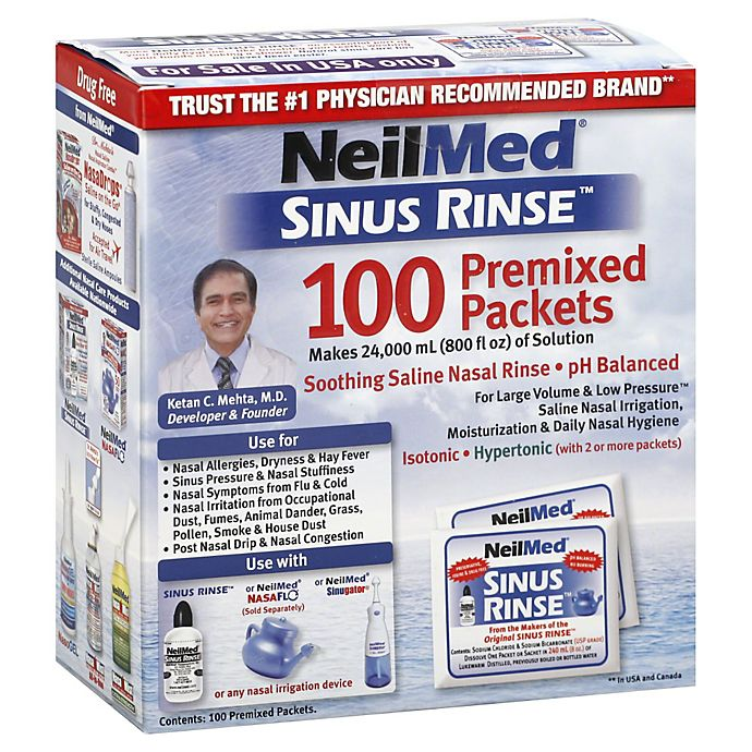 Neilmed Sinus Rinse Saline Nasal Irrigation 100 Count Premixed