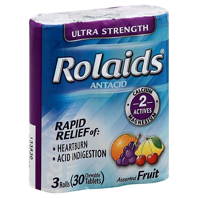 Alternate image 1 for Rolaids® Ultra Strength 3 Rolls 30-Count Chewable Antacid Tablets in Assorted Fruit