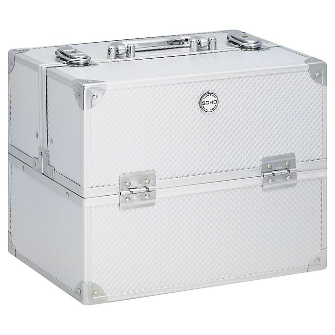 Alternate image 1 for Soho Large Textured Diamond Train Case in Silver