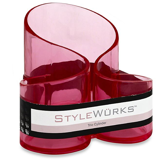 Alternate image 1 for STYLEWURKS™ Trio Cylinder Brush Holder in Clear Pink