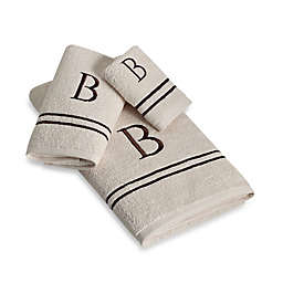 Avanti Monogram Block Letter Hand Towel in Ivory