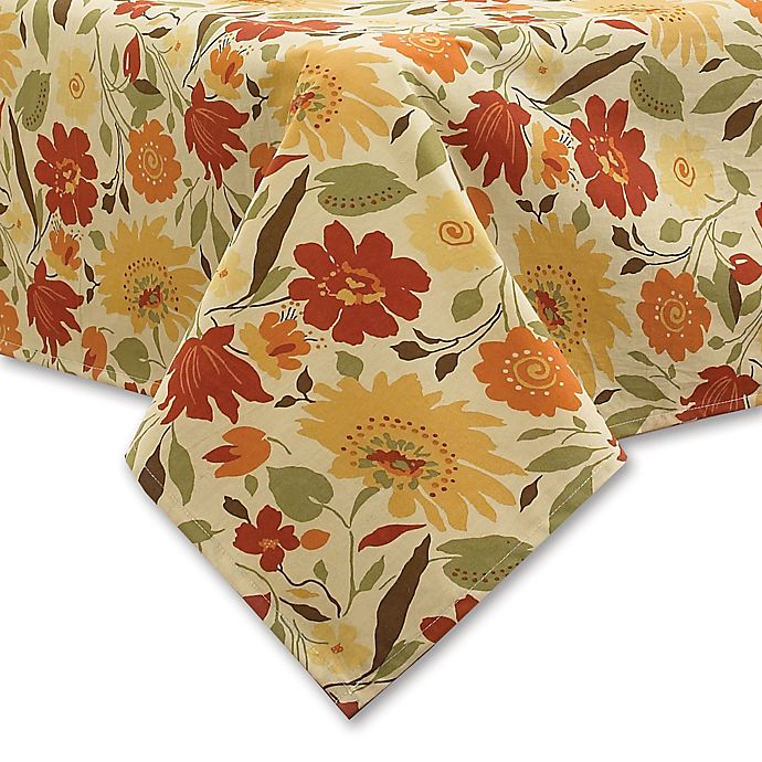 Alternate image 1 for Blooms Laminated Fabric Tablecloth in Brick