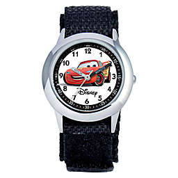 Disney® Children's 30mm Cars Time Teacher Watch in Stainless Steel with Black Strap