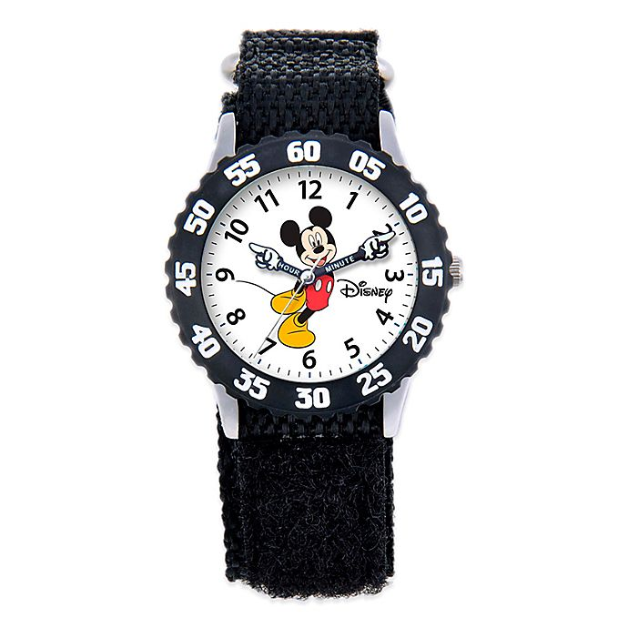 Alternate image 1 for Disney® Children's Mickey Mouse Time Teacher Articulating Hands Watch in Black with Nylon Strap