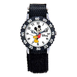 Disney® Children's Mickey Mouse Time Teacher Articulating Hands Watch in Black with Nylon Strap