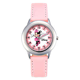 Disney® Children's 30mm Pretty in Pink Minnie Mouse Watch in Stainless Steel with Pink Strap