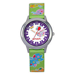 Red Balloon Children's 30mm Butterflies Watch in Stainless Steel with Green Printed Strap