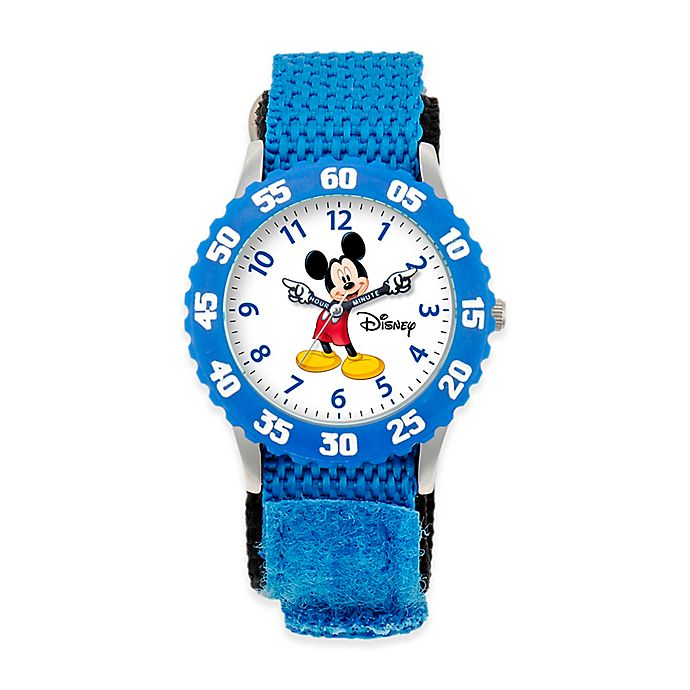 Alternate image 1 for Disney® Children's Mickey Mouse Time Teacher Watch in Stainless Steel with Articulating Hands