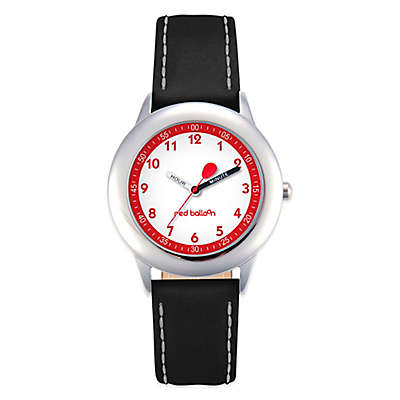 Red Balloon Children's 30mm Time Teacher Watch in Stainless Steel with Black Leather Strap