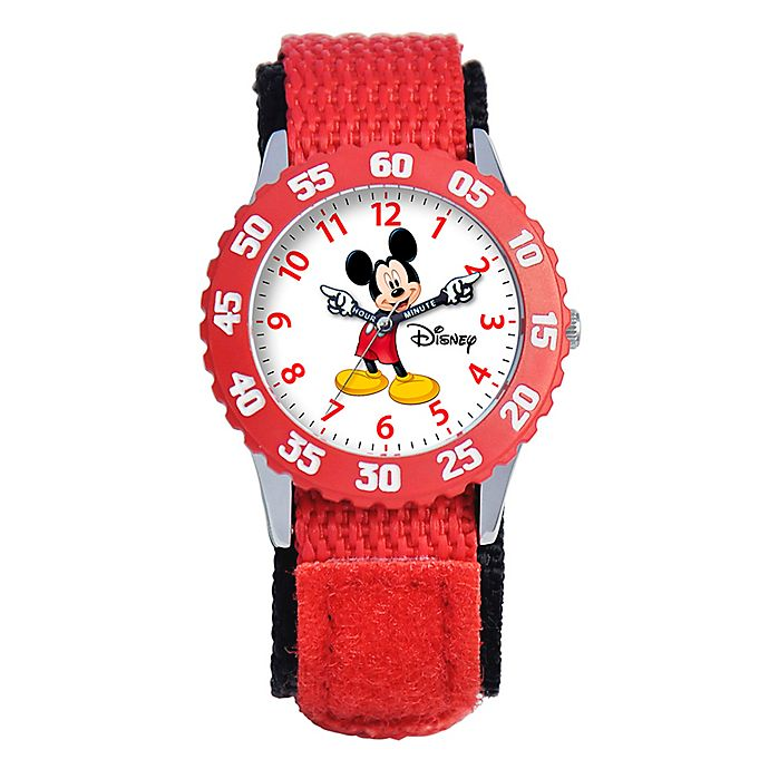 Alternate image 1 for Disney® Children's 32mm Mickey Mouse Time Teacher Watch in Stainless Steel with Red Strap