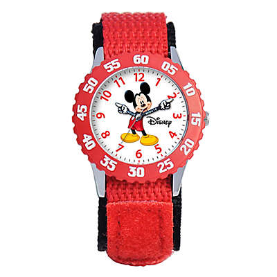 Disney® Children's 32mm Mickey Mouse Time Teacher Watch in Stainless Steel with Red Strap