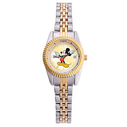 Disney® Ladies' 26mm Mickey Mouse Watch with Date Display in Two-Tone Stainless Steel