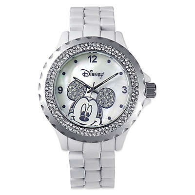 Disney® Ladies' 41mm Mickey Mouse Watch in White Enamel with Silvertone Sparkling Bezel