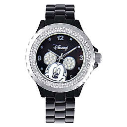 Disney® Ladies' 41mm Mickey Mouse Watch in Black Enamel with Sparkling Bezel
