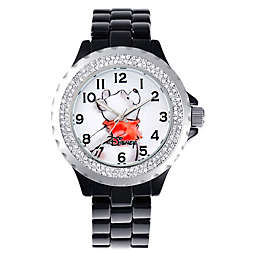 Disney® Ladies' 41mm Winnie the Pooh Enamel Watch in Black Alloy with Sparkling Bezel