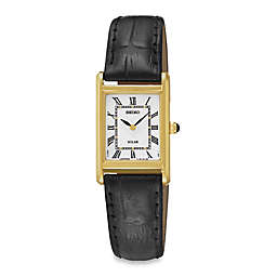 Seiko Ladies' Square Solar Watch in Goldtone Stainless Steel with Black Leather Wrist Strap