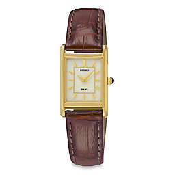 Seiko Ladies' Square Solar Watch in Goldtone Stainless Steel with Brown Leather Wrist Strap