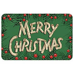 Bungalow Flooring Birch Holly Merry Christmas 18-Inch x 27-Inch Floor Mat