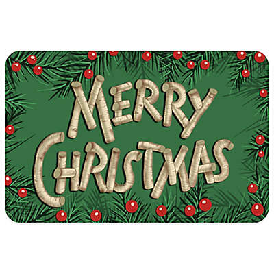 Bungalow Flooring Birch Holly Merry Christmas 18-Inch x 27-Inch Floor Mat