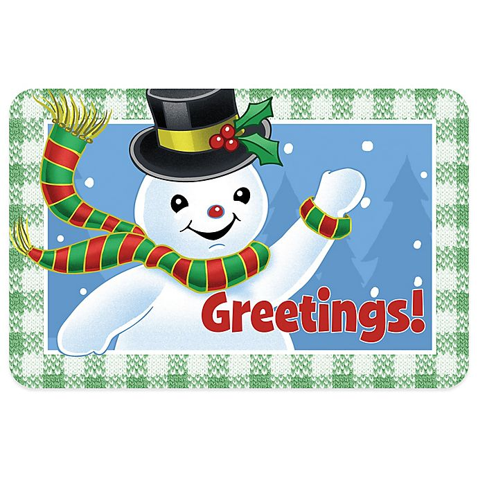 Alternate image 1 for Bungalow Flooring Snowman Greetings 18-Inch x 27-Inch Floor Mat