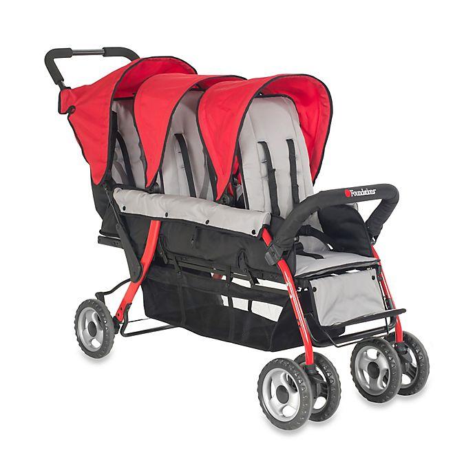 Alternate image 1 for Foundations® Trio Sport™ Splash of Color 3-Passenger Stroller in Red
