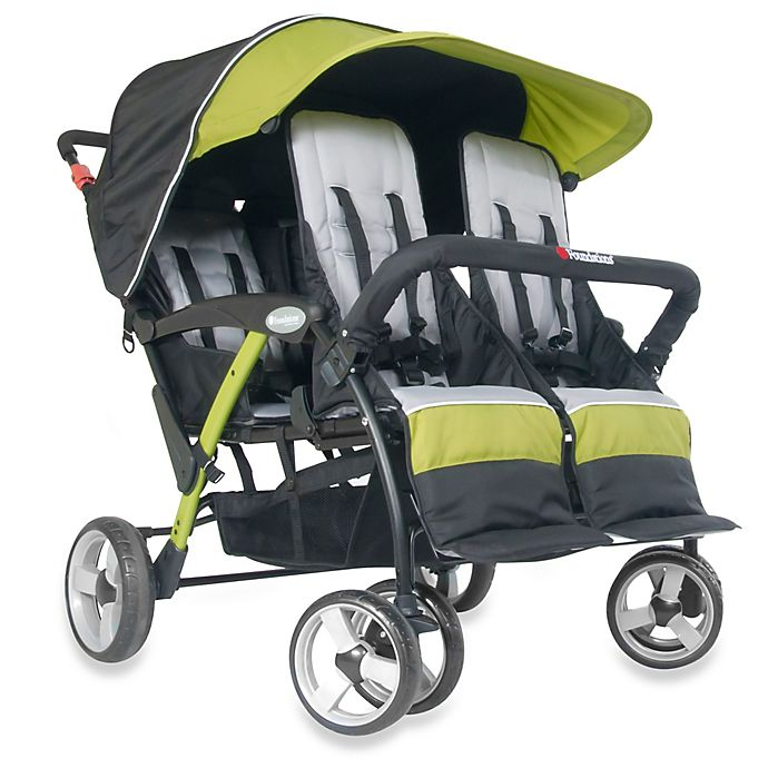 Alternate image 1 for Foundations® Quad Sport™ Splash of Color 4-Passenger Stroller in Lime