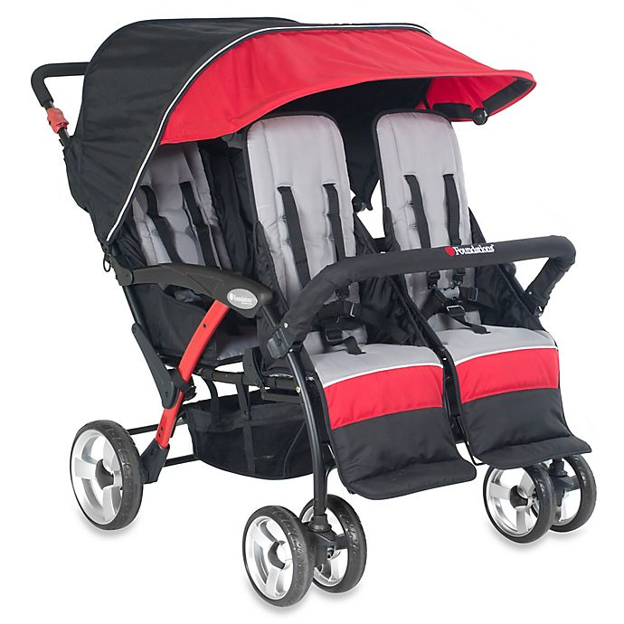 Alternate image 1 for Foundations® Quad Sport™ Splash of Color 4-Passenger Stroller in Red